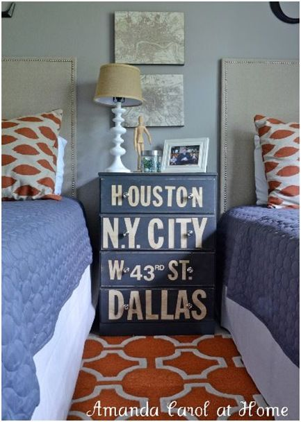 bedroom--typography chest, plain blue comforter, orange/white rug and pillows: Guest Room, Idea, Kids Room, Amanda Carol, Boy Rooms, Dressers, Boys Room, Boysroom, Bedroom
