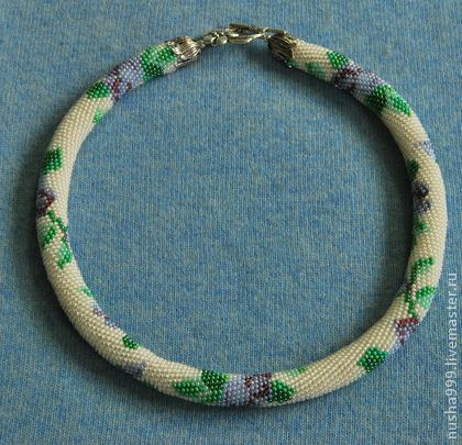 Жгут Фиолетовые розы - белый,фиолетовый,зеленый,розы,жгут из бисера,жгут