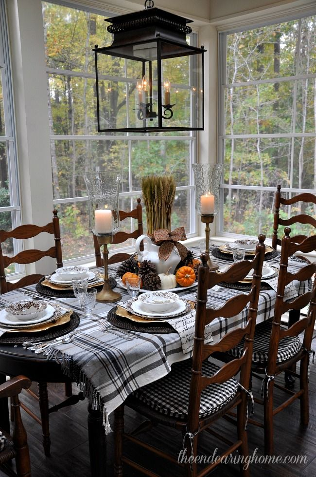love the black, brown and white mix using florals, checks & plaids....Love Love Love...Thanksgiving Tablescape - The Endearing Home