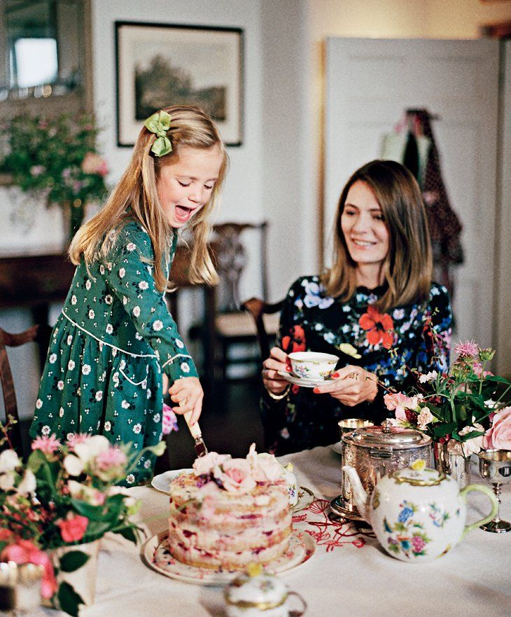 Plum Sykes Home | Sykes, in Erdem, and Tess have tea on the author's Herend wedding china. Photographed by François Halard, Vogue, November 2016.