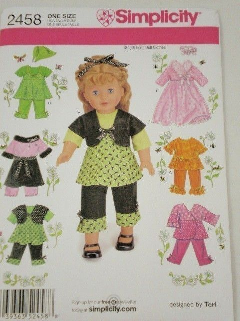 American Girl Clothes Patterns Free | American Girl Doll clothes pattern Simplicity 2458 Sundress, Top ...