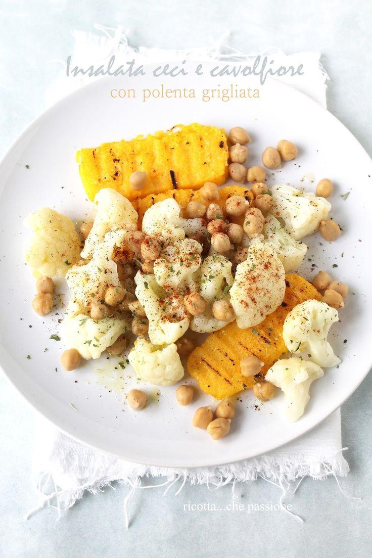 insalata di cavolfiore e ceci con polenta grigliata