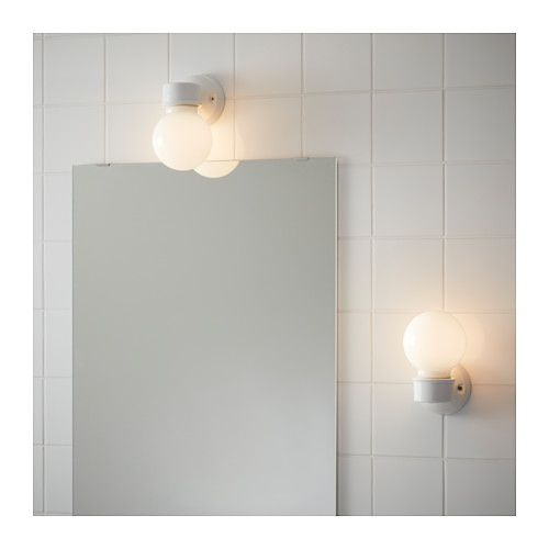 VITEMÖLLA Wall lamp, porcelain stoneware ceramic, glass stoneware/glass -