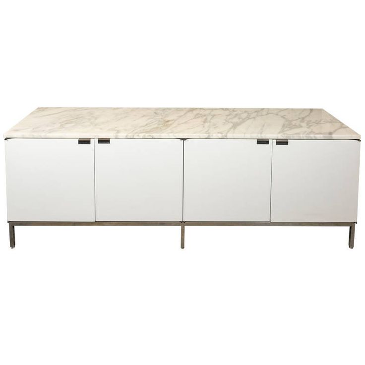 Florence Knoll White Lacquer Credenza with Calacatta Marble Top, 1961 | From a unique collection of antique and modern credenzas at https://www.1stdibs.com/furniture/storage-case-pieces/credenzas/