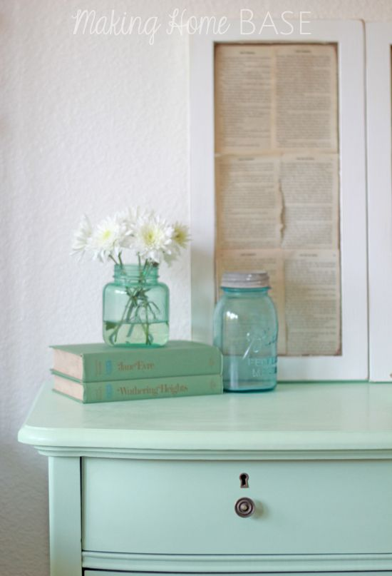 Mint Painted Nightstand Source http://www.makinghomebase.com/mint-painted-nightstand/