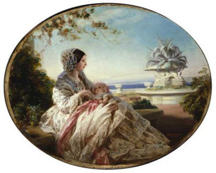Queen Victoria on the terrace at Osborne with baby Arthur (180 pieces)