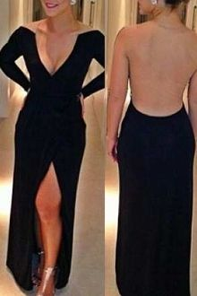 Black Slit Plunging Neck Maxi Dress