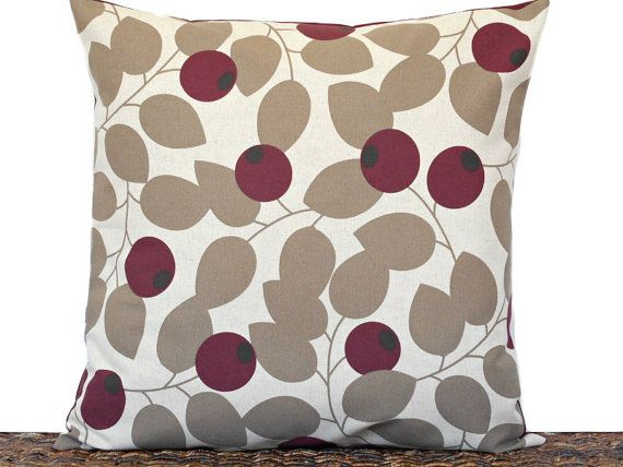 Taupe Leaves Pillow Cover Cushion Currant Berry by PookieandJack