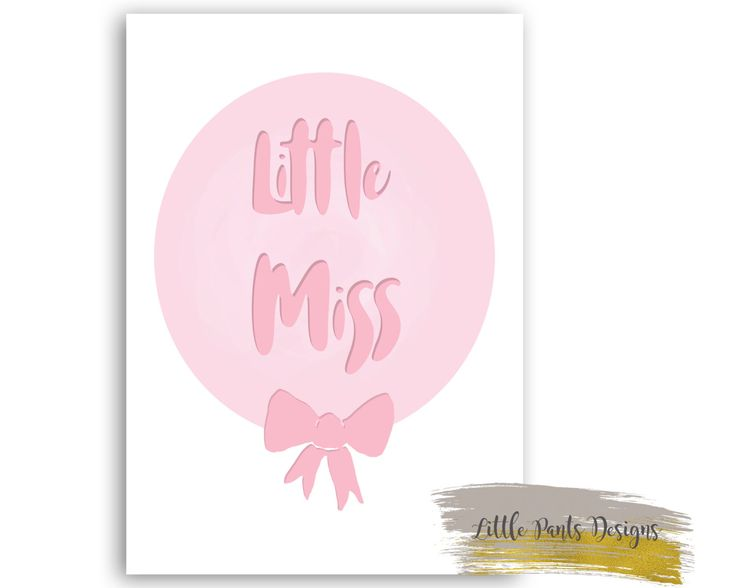 Little MISS Ribbon Bow Ballon Digital Poster.  Nursery Print Pastel Pink Hot Pink by LittlePantsDesigns on Etsy https://www.etsy.com/listing/453464024/little-miss-ribbon-bow-ballon-digital