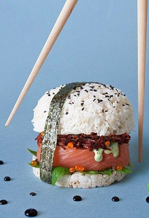 The Mystery Box burger, created for Master Chef USA is composed of raw salmon, smoked baco...