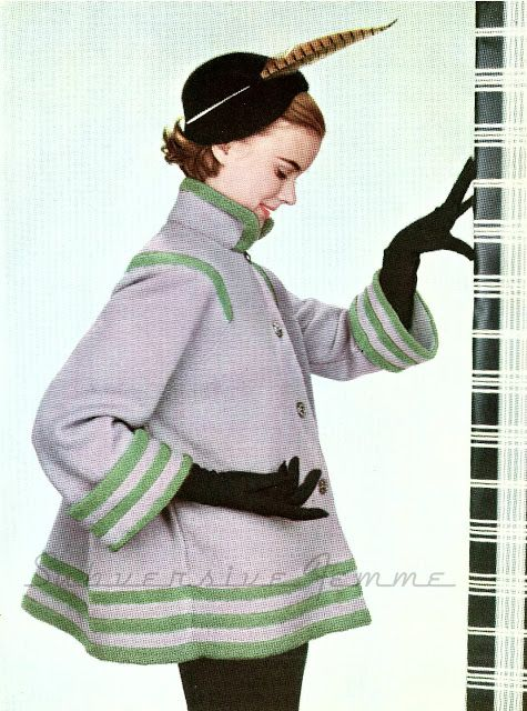 Paris-Inspired Knitted Swing Coat, from Stitchcraft November 1953