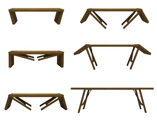sustainable design, green design, tom rossau, transforming furniture, green furnishings, bamboo coffee table