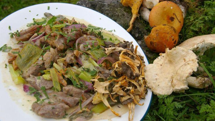 Turgryte med lam og sopp. Kjøttet er skåret i tynne skiver før det stekes. Oppskrift fra Lise Finckenhagen.