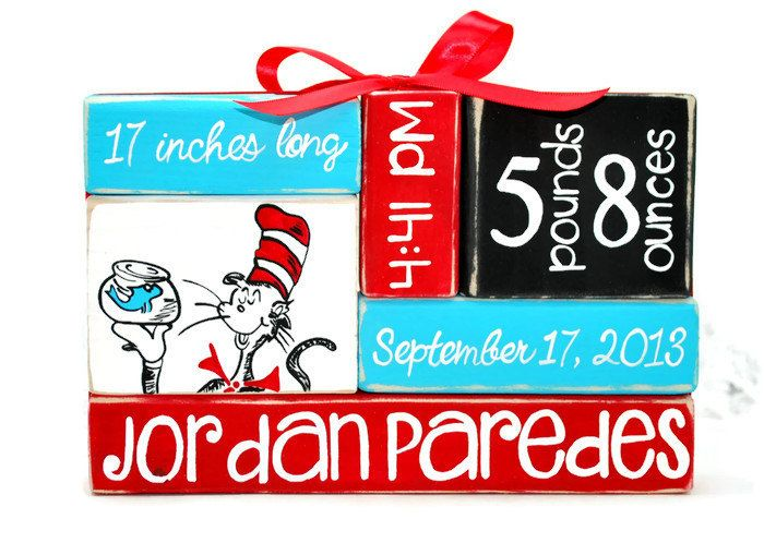 Dr. Seuss Cat In The Hat Nursery Baby Stat by WoodenBlock on Etsy