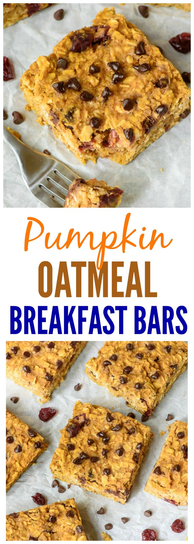 Pumpkin Peanut Butter Oatmeal Breakfast Bars. Healthy, filling, and absolutely delicious! Perfect for on-the-go breakfasts and snacks. We added chocolate chips and dried cranberries. {Gluten Free, Dairy Free, Vegan!} Recipe at wellplated.com @wellplated