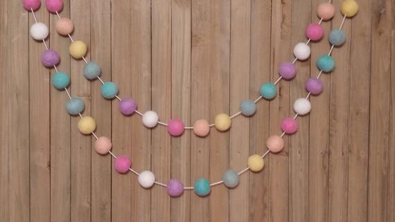 Easter Garland – Easter Decor, Spring Garland, Spring Decor, Easter Banner, Easter Bunting, Pastel Rainbow, Party Decor, Pom Pom, Felt Ball