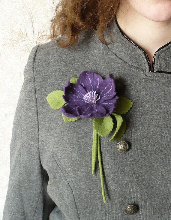 Felt brooch purple flower ready to ship by Roltinica on Etsy