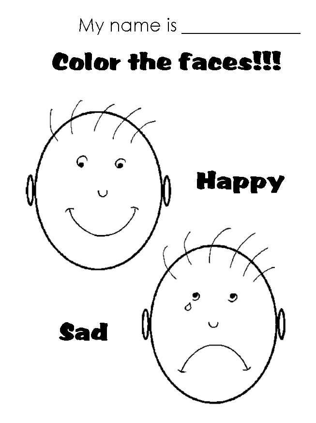 Happy Sad Face Coloring Page