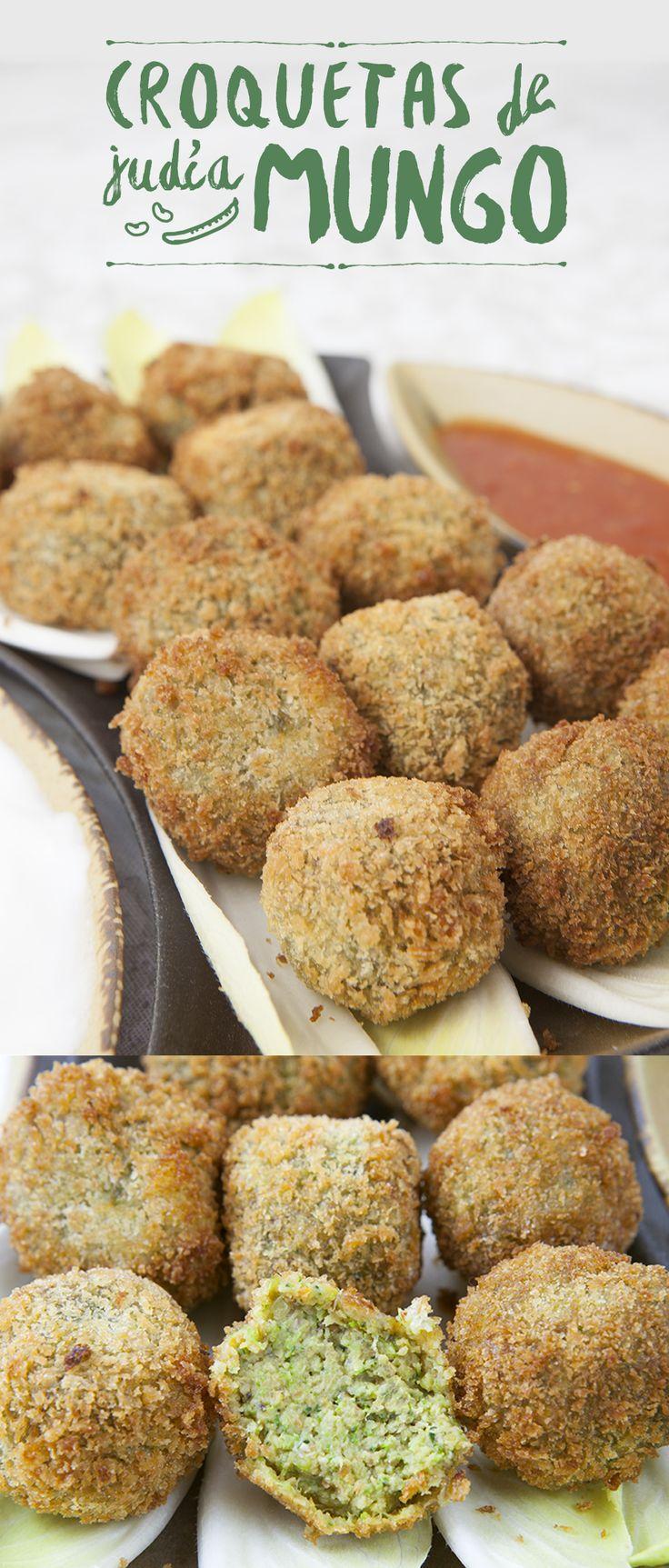 deliciosas croquetas de judía #mungo con #verduras, #lechedecoco y #chili. Rebozadas con harina de arroz y #panko