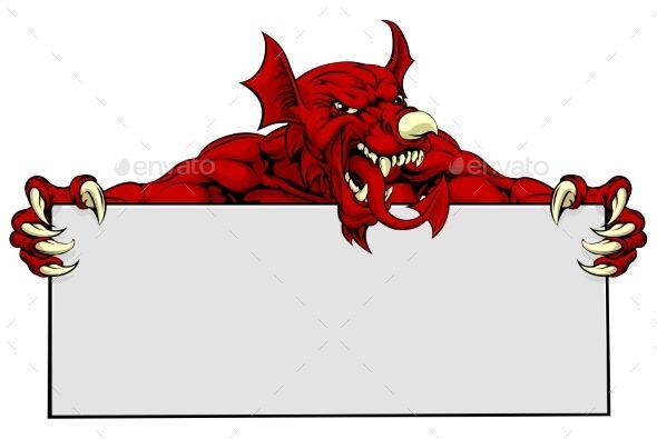 Welsh Dragon Sports Mascot Sign by Krisdog A mean looking Welsh Dragon mascot holding a sign
