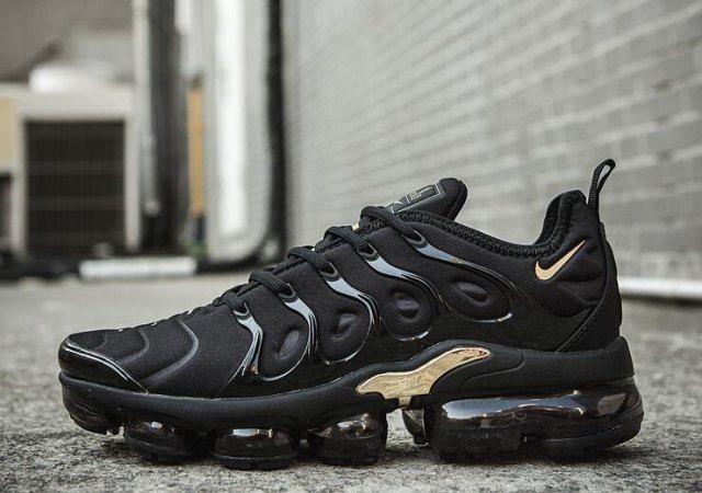 new style ff563 a488a Nike Air VaporMax Plus TN Black Gold Women's Men's Running ...