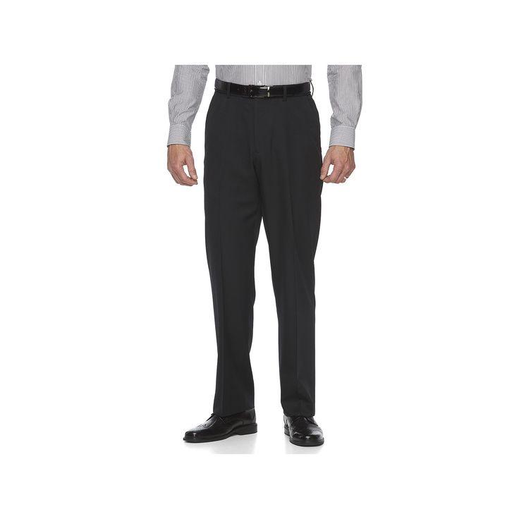 Big & Tall Croft & Barrow® Essential Classic-Fit Flat-Front Dress Pants, Men's, Size: 44X34, Black