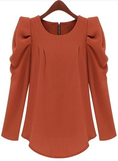 Orange Long Sleeve Alice Shoulder Zipper Blouse