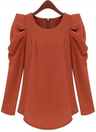 Orange Long Sleeve Alice Shoulder Zipper Blouse. Would love one in blush pink or lavender.