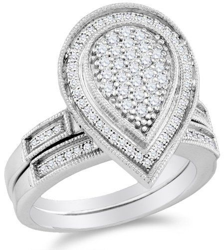 .925 Sterling Silver Plated in White Gold Rhodium Diamond Ladies Bridal Engagement Ring with Matching Wedding Band Two 2 Ring Set - Pear Shape Center Setting w/ Micro Pave Set Round Diamonds - (.53 cttw) Sonia Jewels. $339.00. 925 White Gold Plated Silver GUARANTEED, Authenticated with a 925 Stamp. *** FREE Standard Shipping ***. *** FREE Velvet Ring Box ***. Pure, Real & Natural Diamonds - .53 Total Diamond Carat Weight