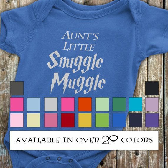 Harry Potter Baby, Aunt Onesie, Harry Potter Onesie, Funny Harry Potter Onesie, Funny Aunt Onesie, Gift from auntie, Harry Potter Baby Gift  This onesie is perfect for the Harry Potter fan. What Aunt doesnt love to snuggle a little muggle?  Available Colors (Please note that the light colored onesies will have a black design and the dark colored onesies will have a light colored design, see color chart photo) - Black (white printed design) - White - Pink - Purple (white printed design)…