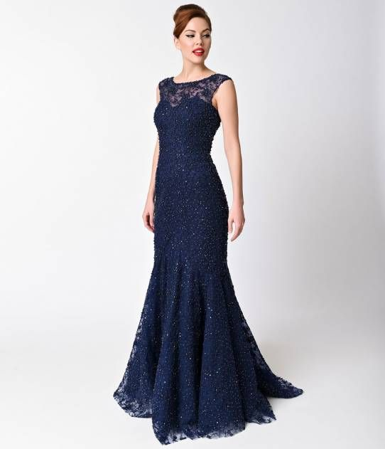 Navy Beaded Cap Sleeve Sheer Illusion Gown For Prom 2017