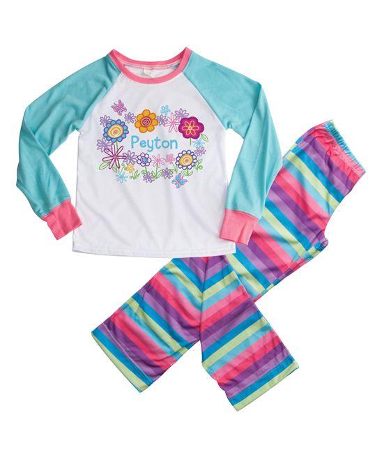 Aqua & Pink Pretty Flowers Personalized Loungewear Set