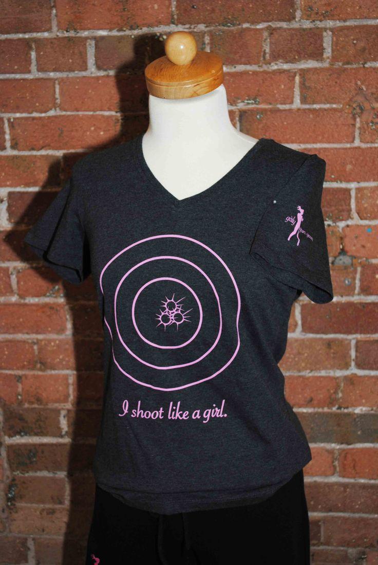 NEW! I shoot like a girl t-shirt available at www.GirlyGunGear.com