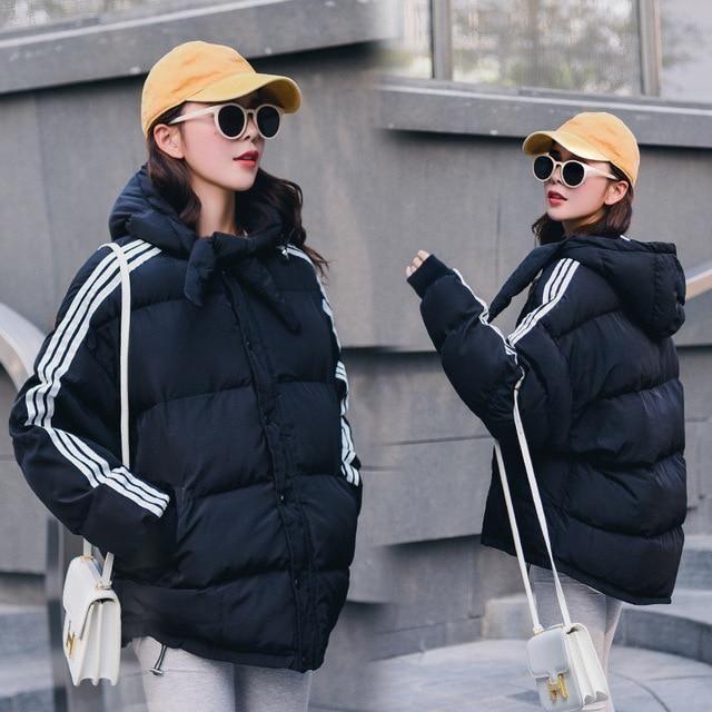 2018 Plus Size Loose Bat Sleeved Blue Women's Winter Jacket Thick Hooded Warm Casaco Feminino Coat Female Jacket Women's Parka B 2