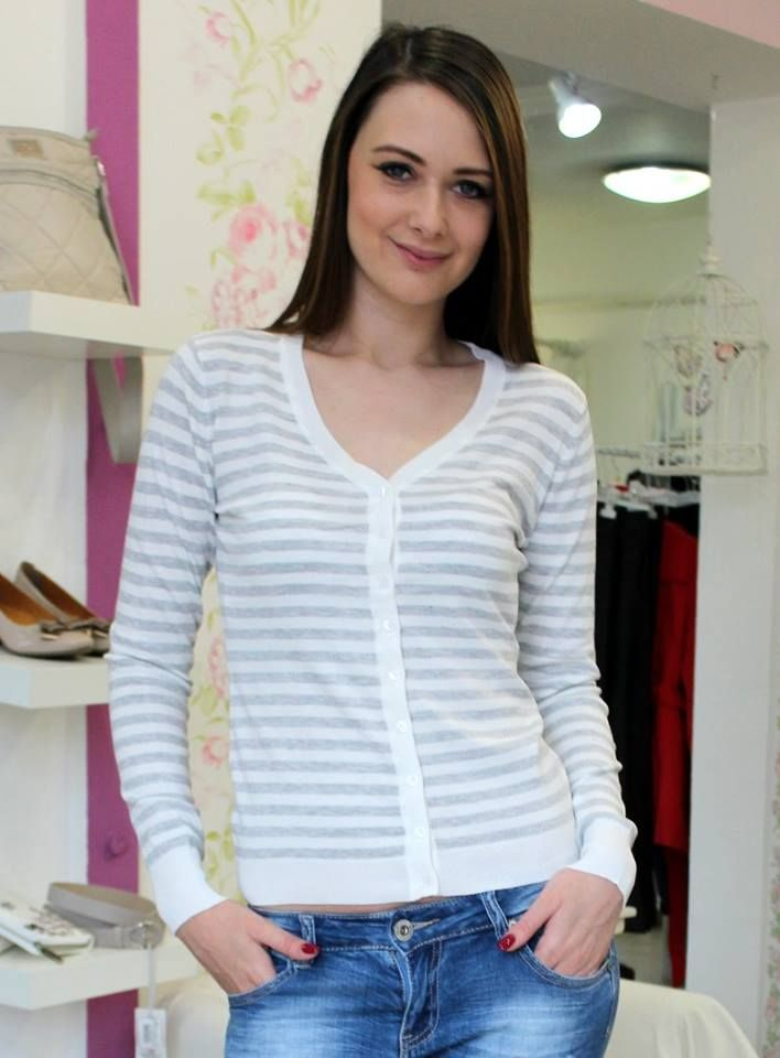 Grey & white striped sweater