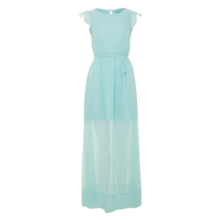 Aqua Sheer Slit 2 Tier Maxi dress