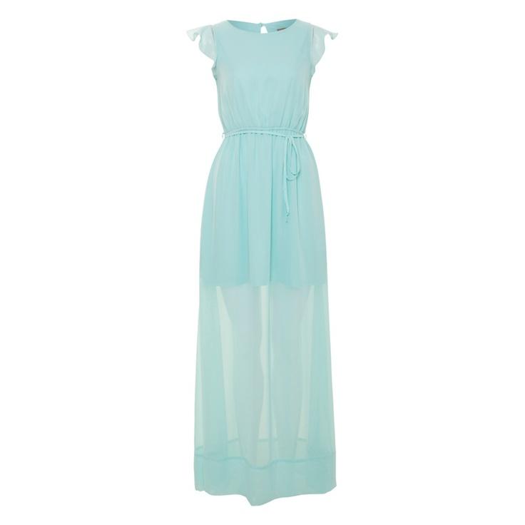 Aqua Sheer Slit 2 Tier Maxi dress