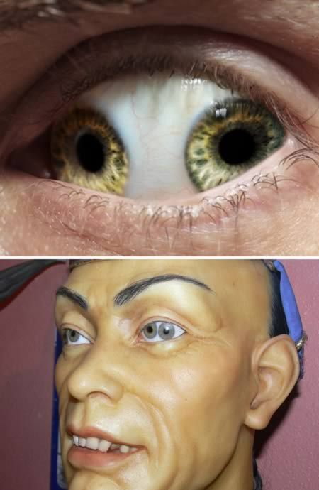 """The Pupula duplex is a medical oddity that is characterized by having two irises/pupils in each eyeball. Pupula duplex is Latin for """"double pupil."""" There is the myth of Liu Ch'ung, Chinese Minister of State in 995 AD., who suffered from it.  This picture of Liu Ch'ung was featured on Ripley's Believe It or Not a while ago, leaving the world stunned. A wax rendition of the man's unusual condition is included in Louis Tussaud's Palace of Wax."""