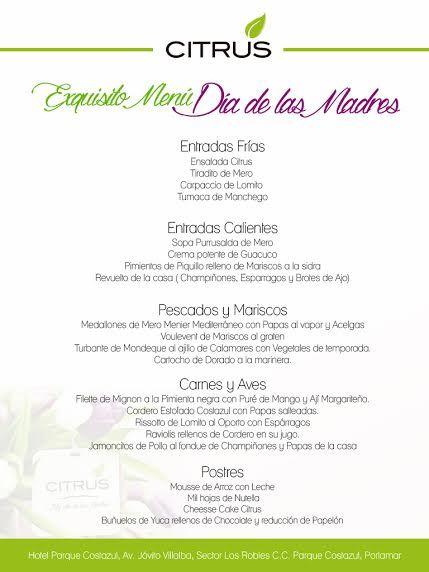 Menú del dia de las Madres