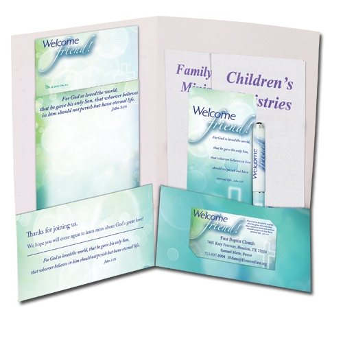Church visitors welcome brochure holder pocket folder cta inc church visitor gifts for Church brochure ideas