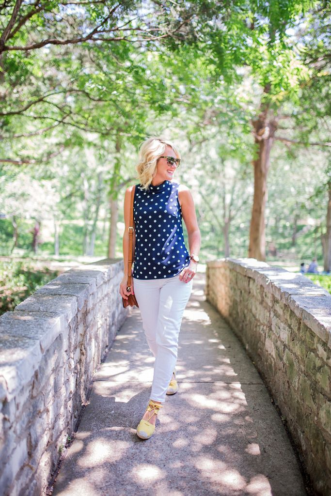 Yellow Espadrilles with white jeans and navy and white polka dots... adorable!