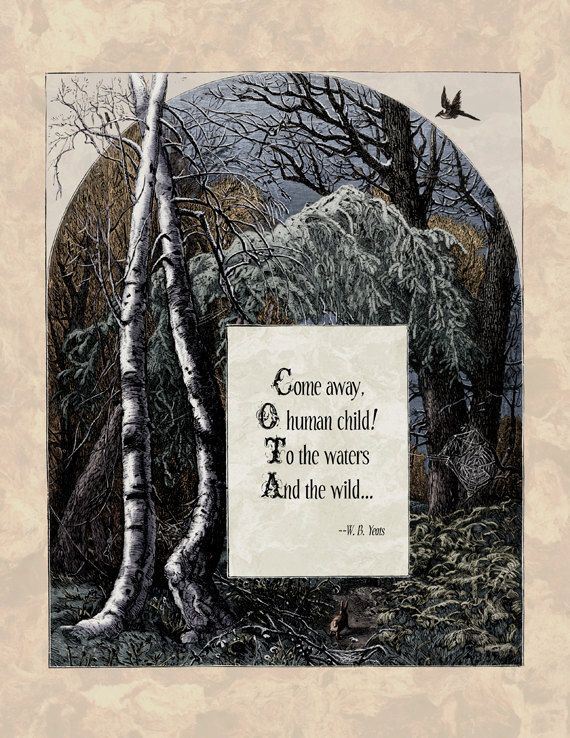 Yeats  Victorian Art Poetry Print  The Stolen Child by Shakoriel, $9.00