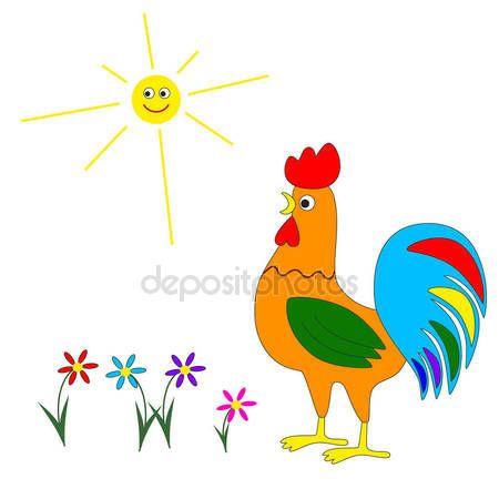 Cute cartoon rooster. #rooster #cartoon #cute #nature #sun #summer
