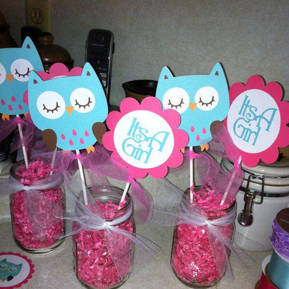 Palos de centro de mesa Baby Shower buho por MindysPaperPiecing                                                                                                                                                                                 Más