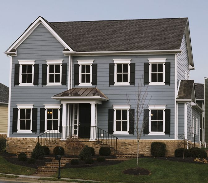 Boothbay blue with arctic white trim house exteriors for Blue siding house