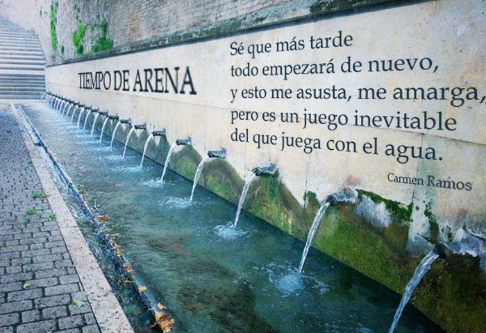 https://flic.kr/p/y8HD8P | Juego de agua, fuentes y versos. Tiempo de arena | Tiempo de arena: un juego de agua, fuentes y versos. Poema visual de Carmen Ramos y Antonio Santana.