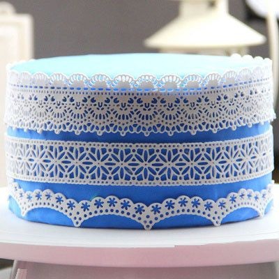 L001 Large silicone sugar lace mat flower lace edge by mamimold