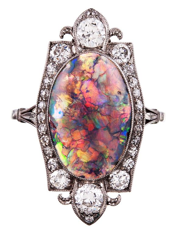 Absolutely Stunning Creation in It's Simplicity and Beauty, Black Opal, Diamond and Platinum Plaque Ring, 1925.
