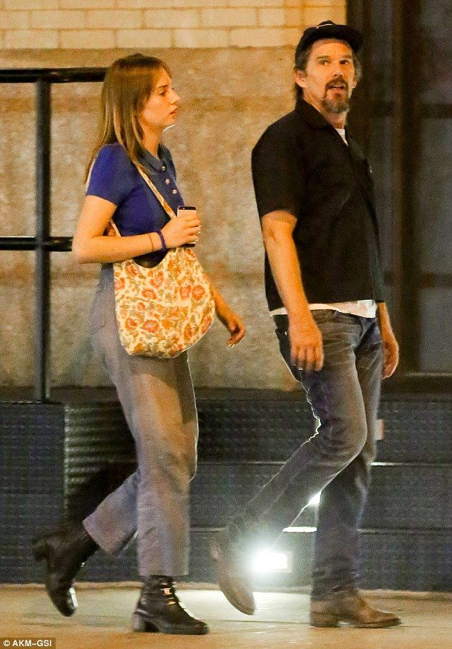 Before midnight: Ethan Hawke enjoyed bonding time with his daughter Maya during a night ti...