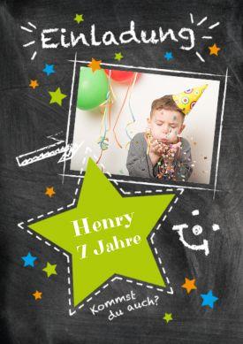 Einladung Zum Kindergeburtstag Mit Grünem Stern. Fröhliche Einladung Zum 7.  Geburtstag Auf Schultafel Mit